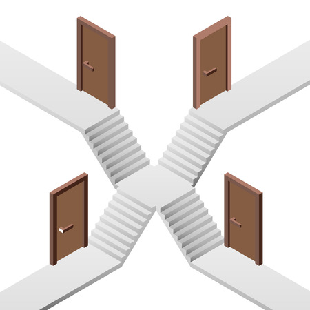 staircase way decision on crossroads with doors illustration Vector