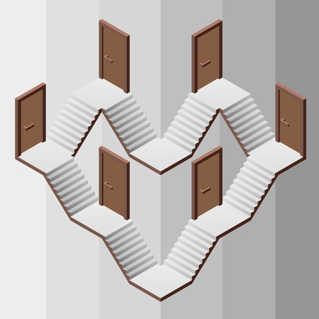 staircase heart structure way with doors entrances illustration