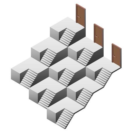 pyramidal: pyramidal staircase maze with three doors illustration