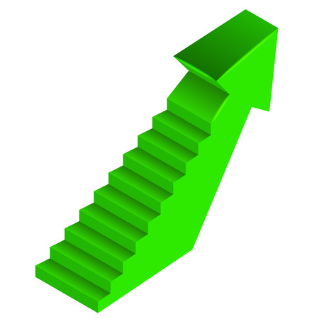 green arrow up direction with staircase on side illustration Vector