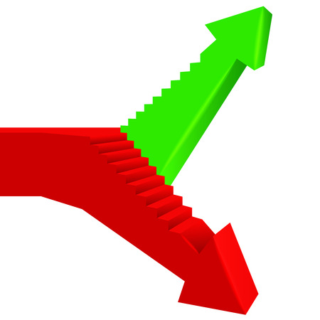 red green arrow direction with staircase on side illustration Ilustração