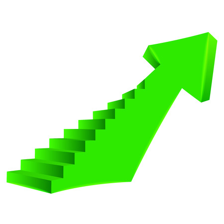green bended arrow up direction with staircase on side illustration Vector