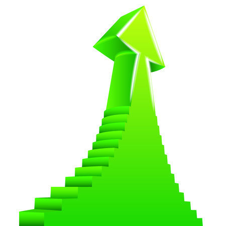 green arrow up with staircase on side design illustration Vector
