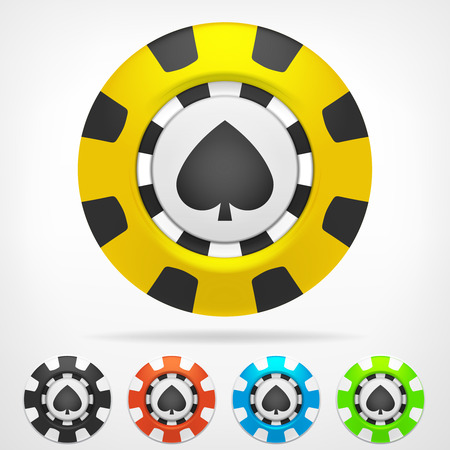 spades poker chip color set 3D object isolated on white  Vector
