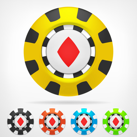 diamond poker chip color set 3D object isolated on white  Vector