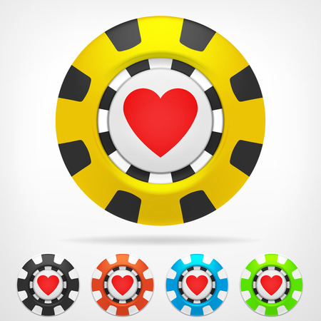 casino chips: heart poker chip color set 3D object isolated on white