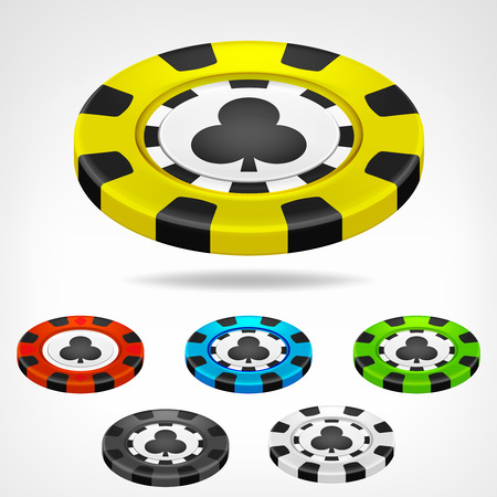 clubs poker chip isometric color set 3D object isolated on white Vector