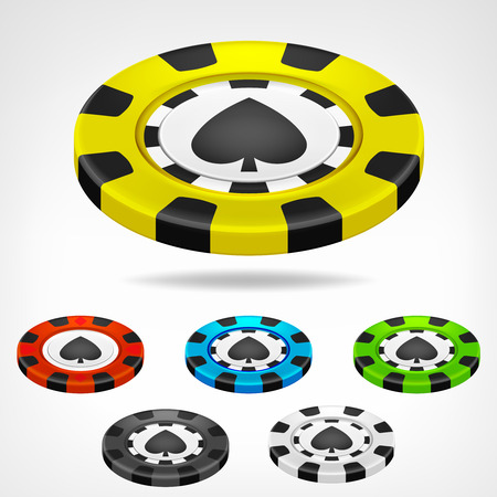 spades poker chip isometric color set 3D object isolated on white illustration Vector