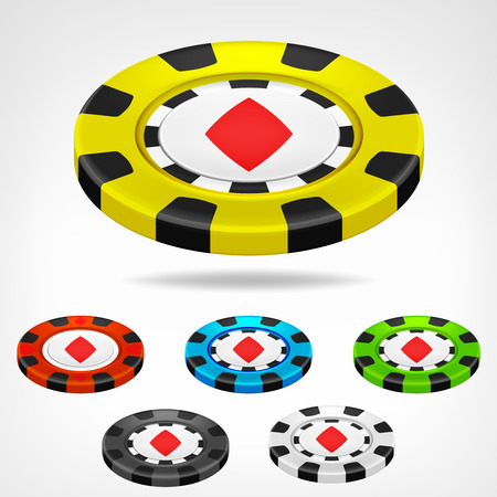 diamond poker chip isometric color set 3D object isolated on white illustration Vector