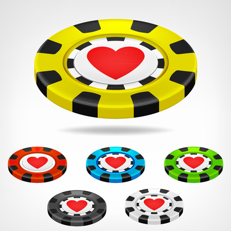 heart poker chip isometric color set 3D object isolated on white illustration Vector