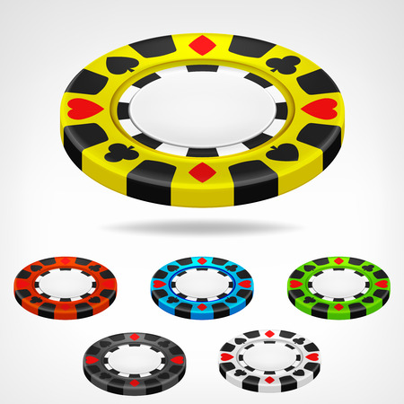 poker chip isometric color set 3D object isolated on white illustration Vector