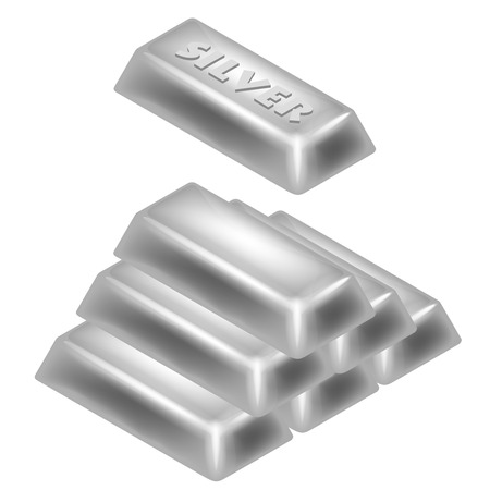 silver bar: silver bar pyramid 3D design isolated on white illustration