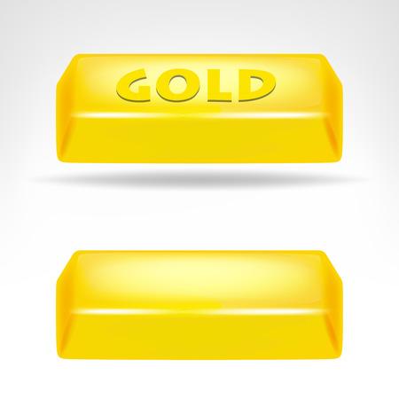 gold bar 3D design isolated on white illustration Vector