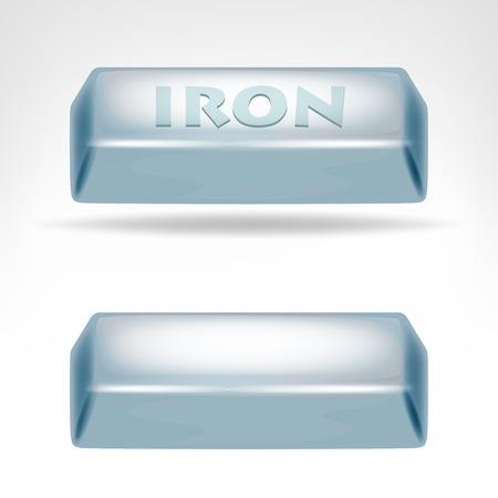 iron ore: iron bar 3D design isolated on white illustration Illustration