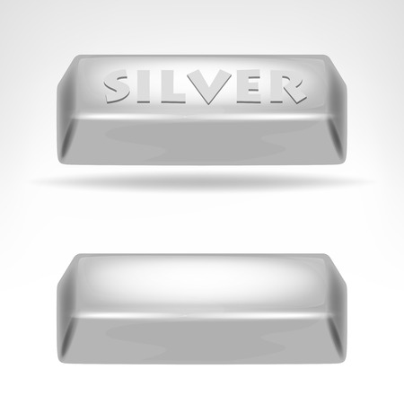 silver bar: silver bar 3D design isolated on white illustration