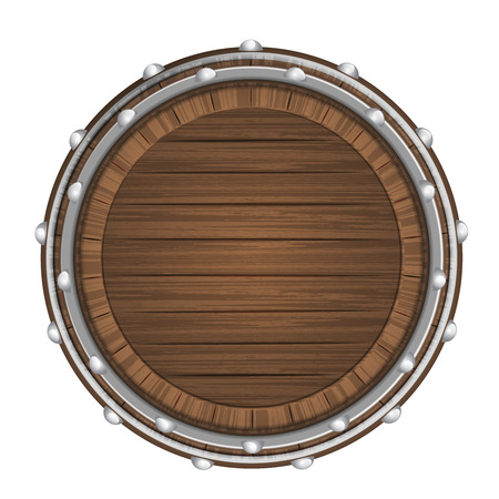 wooden barrel top object 3D design isolated on white illustration Vector