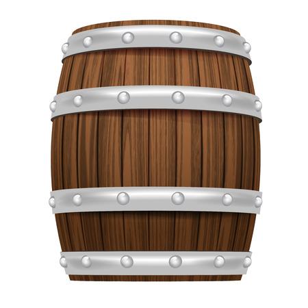 wooden barrel object 3D design isolated on white illustration