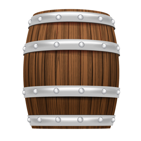 wooden barrel object 3D design isolated on white illustration Vector