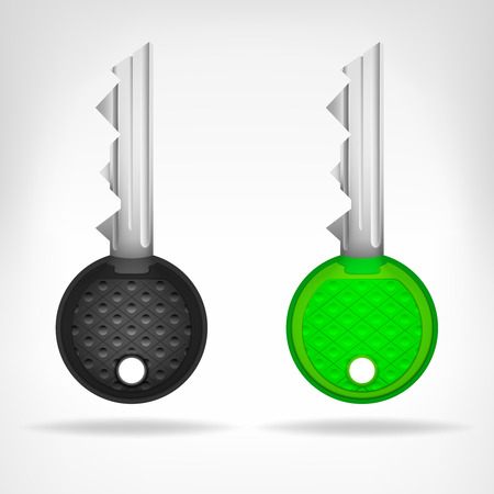 two circular keys object 3D design isolated on white illustration Vector
