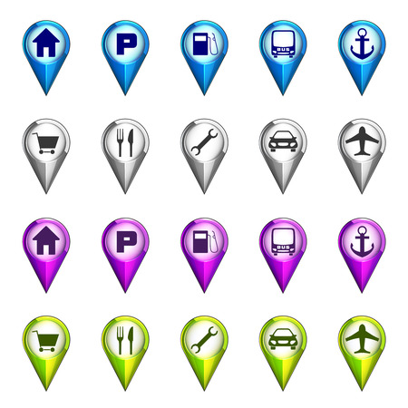 destination icon navigation set illustration Vector
