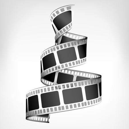 film: movie strip spiral 3D design isolated on white illustration