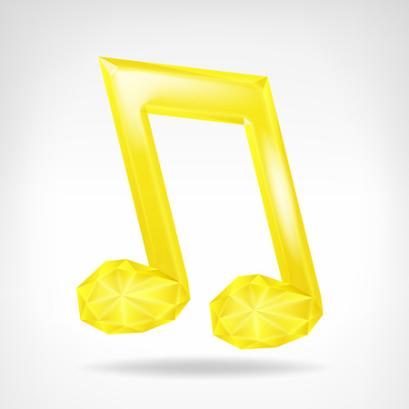 golden music crystalline note 3D icon isolated illustration Vector