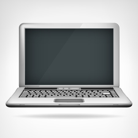 open laptop object 3D design isolated on white illustration  Vector