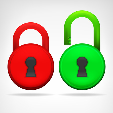 locked icon: red green circular padlock object design isolated on white illustration