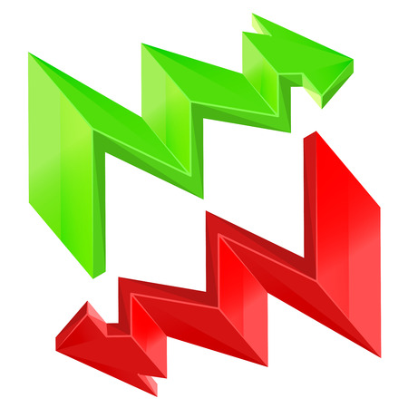 red green zigzag arrow isolated design vector set Vector
