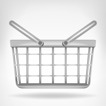 metallic basket in side view isolated on white vector illustration Vettoriali