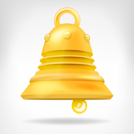 golden bell 3D object isolated on white vector illustration Vector