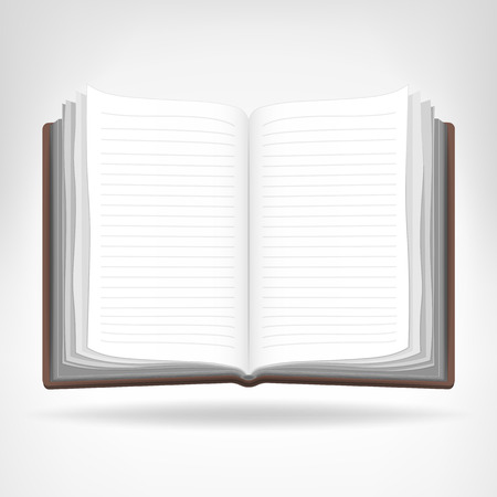 workbook: open empty book isolated object vector illustration