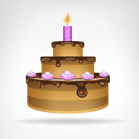 застекленный: большой шоколадный остеклением торт векторные иллюстрации Иллюстрация