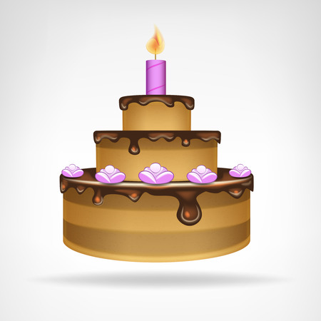 big chocolate glazed cake isolated vector illustration Vector