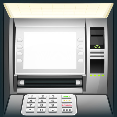 illuminated cash machine with blank white screen vector illustration