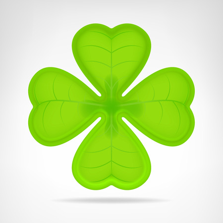 green cloverleaf isolated on white vector illustration Vector