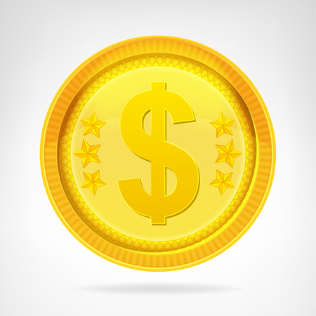 Dollar coin golden currency object isolated vector illustration Vector