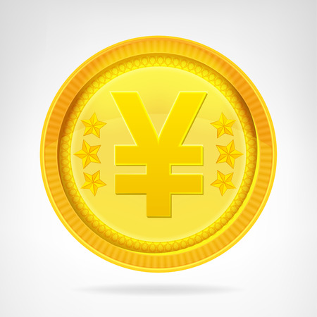 Yen coin golden currency object isolated vector illustration Vector