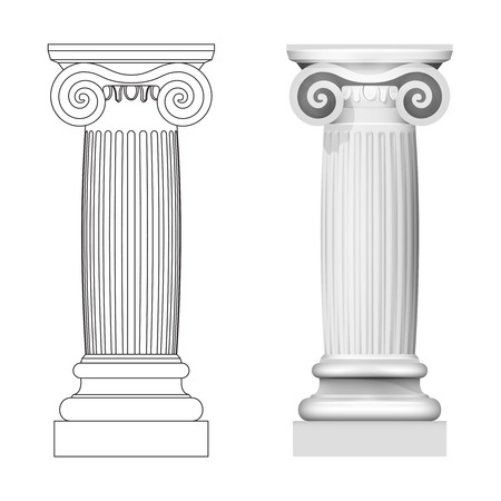iconic architecture: ionic column style side view isolated vector illustration