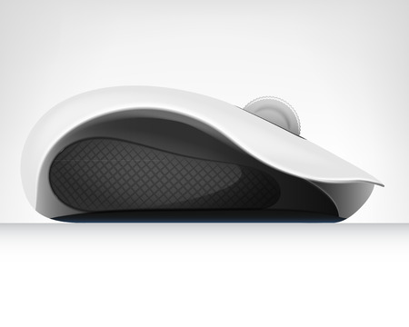 computer mouse in side view isolated object on white vector illustration
