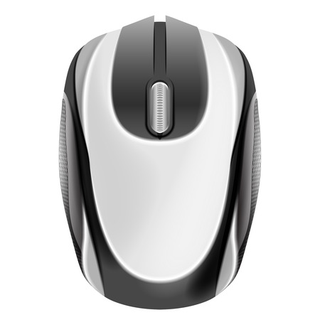 computer mouse in top view isolated object on white vector illustration Vector