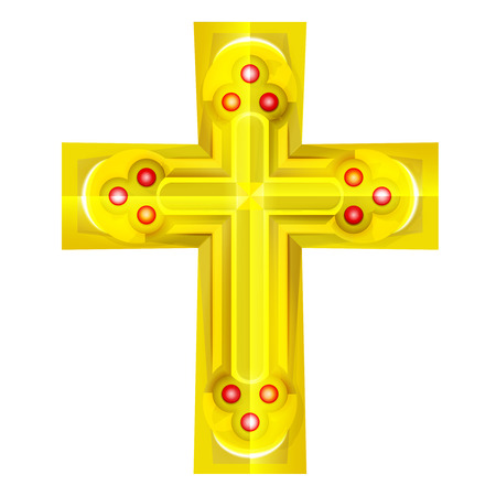 golden cross with red rubby object isolated vector illustration Vector