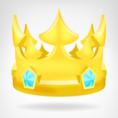 golden crown with diamonds object isolated vector background Illustration