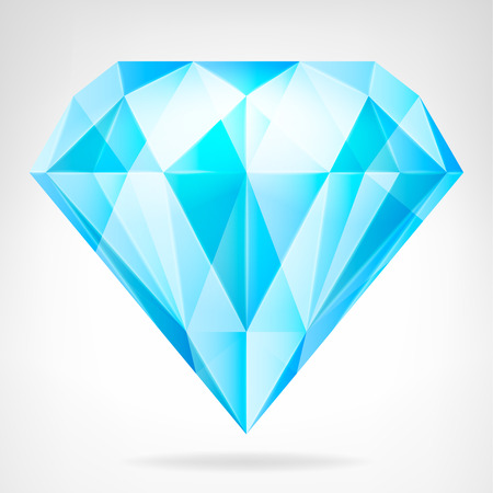 blue clear diamond side view vector isolated illustration Vector