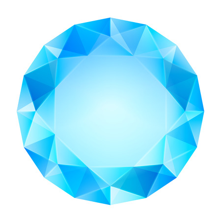 blue clear diamond top view vector isolated illustration Vector