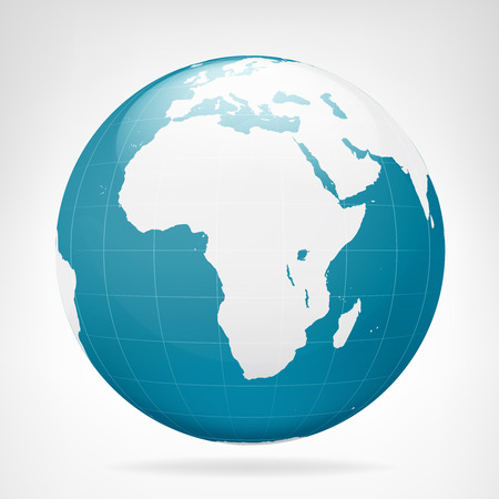 Africa blue earth view isolated vector illustration Vector