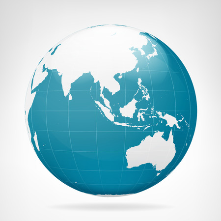 map of australia: Asia blue earth view isolated vector illustration
