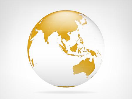 Asia golden planet backdrop view vector illustration Vector