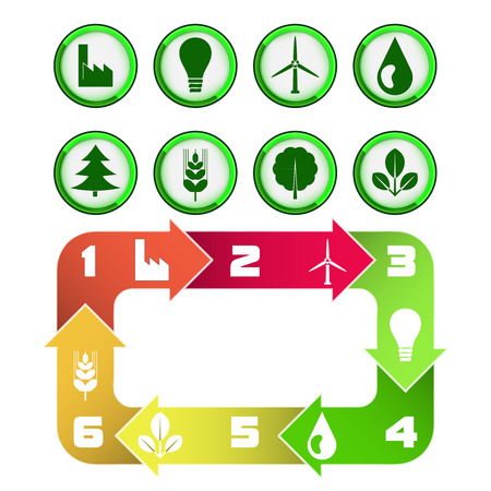 ecological cycle diagram with green icons isolated on white vector illustration Vector