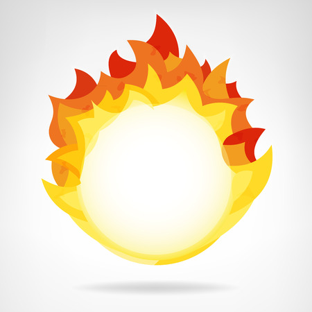 fire flame circle backdrop isolated vector teplate illustration Vector